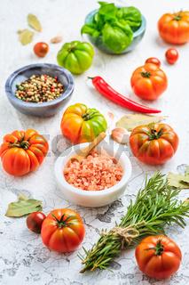 Assortment of organic tomatoes