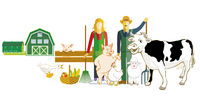 Farmer with his animals illustration