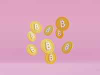 Bitcoin levitating coins. Cryptocurrency finance transactions made using blockchain technology. Mining btc 3d render in cartoon style