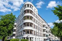 Modern white luxury apartment block seen in Berlin, Germany