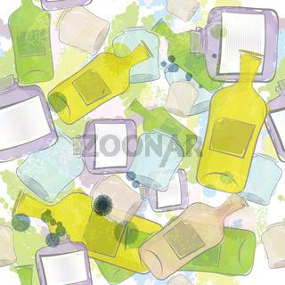 Jars and bottles seamless pattern