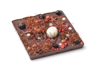 Handmade dark chocolate with berries