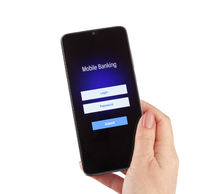 Female hand hold mobile banking on a smartphone on white