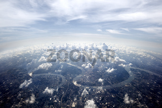 Aerial overview Bangkok cityscape