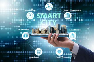 Businessman in smart city modern concept