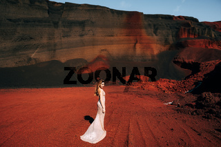 The girl is standing with her back. Portrait of a bride model in a golden wedding evening dress, in a yellow-red sandy quarry, in the crater of a volcano in Iceland, Golden Circle.