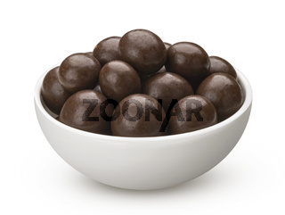 Chocolate balls in bowl isolated on white