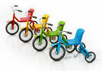 Child bicycles or tricycles isolated on white background. 3D illustration