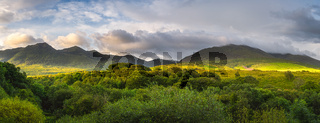 Green forest and mountain range illuminated by golden sunlight at sunrise, MacGillycuddys Reeks mountains