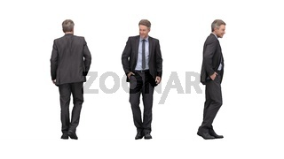 3D rendering of a business man multiple views, front side back.