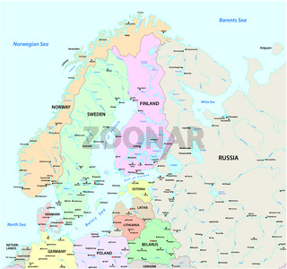 Vector map of Northern Europe with the most important cities and bodies of water .eps