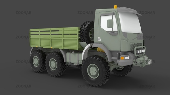 Army truck 3D rendering, millitary vehicle logistics lorry isolated in studio background