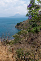 Top view of lake Atitlan and volcano crater at a sunny place in nature, San Pedro, Guatemala