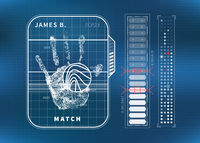 Fingerprint scan with human palm and charts, futuristic tech ui concept on blue