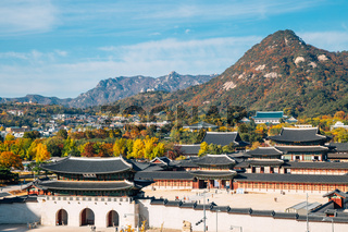Panorama view of Gyeongbokgung Palace at autumn in Seoul, Korea
