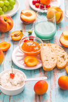 Ciabatta with peach and apricot jam
