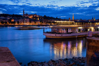 Danube River at Blue Hour in City of Budapest