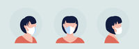 White mask wearer semi flat color vector character avatar set