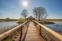 June 2020, Kosice, Czech republic - In the middle of the lake there is a house in a small grove, a wooden bridge with railings leads to it. The water is calm, the sky is blue and clear.