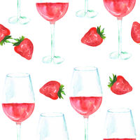Seamless pattern with rose wine and strawberries, watercolour, repeat print on white