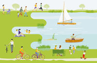 Leisure and recreation at the lake illustration
