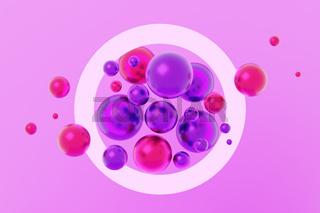 Floating spheres inside a ring. 3D illustration.