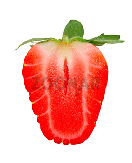 Ripe red strawberry on an isolated white background