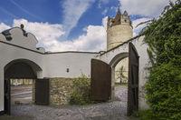 The open doors in the courtyard of Bernburg Castle
