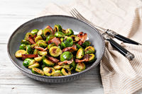 Fried Brussels sprouts with bacon