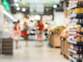 blurred supermarket aisle