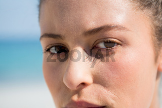 Close up portrait of woman at beach