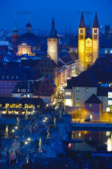 german city Wuerzburg at night