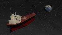 Bulk Carrier big cargo ship flying to planet Earth isolated 3d rendering