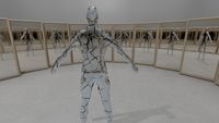 illustration of brocken mirror man reflecting himself in the mirrors, surreal concept 3d render