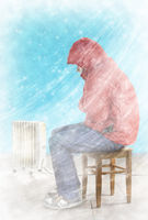 Freezing man indoors