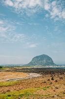 Sanbangsan Mountain and beach, Jeju Olle Trail in Jeju Island, Korea