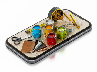 Paint cans, cartelas, tape measure and other tools on smartphone. 3D illustration