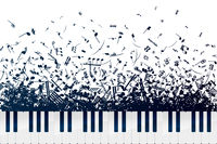 A lot of different musical notes and signs in chaotic heap with piano keyboard on white