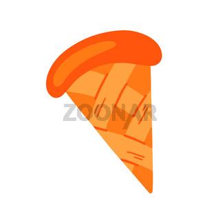 A piece of pumpkin pie .American homemade pumpkin pie. Vector illustration