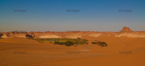 Panoramic Aerial view to Boukkou lake group of Ounianga Serir lakes at the Ennedi, Chad