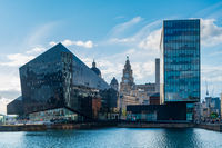Modern and classic architecture at the Liverpool Docks, Port of Liverpool