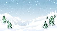 Winter landscape forest mountains snow