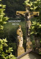 Looking through Christ on the cross past the writing Weindorf Rech, Rech, Germany, Europe