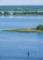 Dnipro river summer landscape, Kaniv water Reservoir, Kyiv Region, Ukraine.