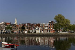 Haarlem, Houses along Spaarne river, North Holland, Netherlands
