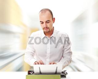 man use typewriter