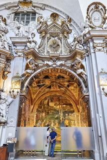 Spello Umbria Italy. Tourists admiring Baglioni Chapel frescoed by Pinturicchio