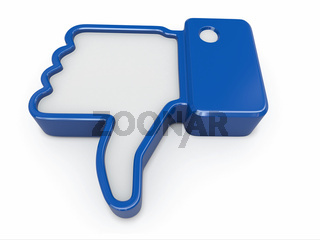 Dislike. Thumb down sign on white background. 3d