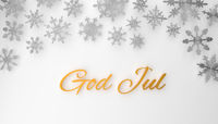 Modern Scandinavian Merry Christmas background with snowflakes on white