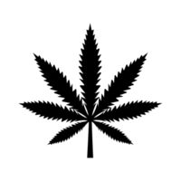 Marijuana leaf, medical cannabis detailed black icon isolated on the white